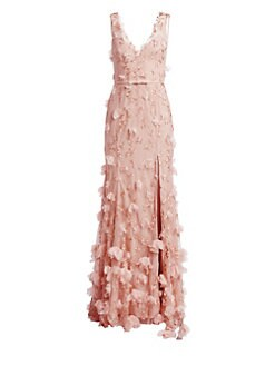 Marchesa Notte Embroidered Tulle Hi-Lo Gown ($1,095) ❤ liked on Polyvore  featuring