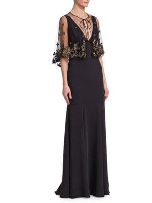2-Piece Red Crepe Evening Gown W/ Cape, Black from District 5 Boutique