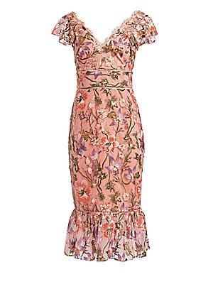 0b2302e1396 Marchesa Notte - Flutter-Sleeve Embroidered Cocktail Dress - saks.com