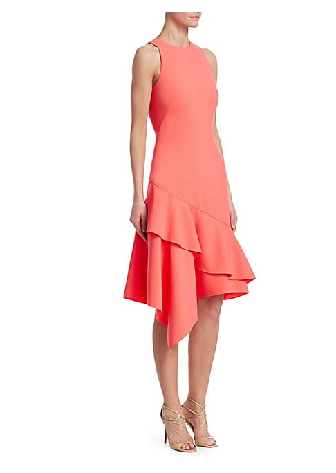 "Image of Elegant sleeveless dress with layered ruffle asymmetric hem. Crewneck. Sleeveless. Concealed back zip closure. Asymmetric ruffle hem. About 42"" shoulder to hem. Polyester. Dry clean. Imported. Model shown is 5'10"" (177cm) wearing US size 4."