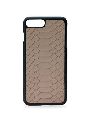 """Image of Embossed leather with cutouts that allow access to controls and ports. Fits iPhone 7 Plus.3""""W x 6.25""""H x 0.25"""" D.Python leather. Made in USA."""