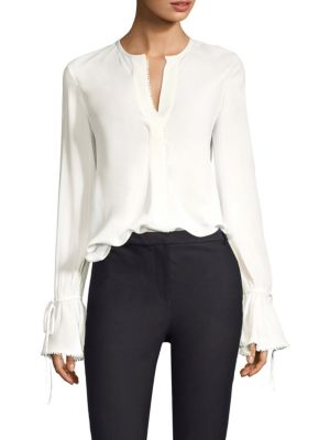 Bell-Sleeves Button-Down Blouse With Scalloped Trim, Soft White