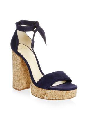 Celine Ankle Tie Platform Sandal in Blue