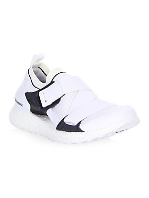 Image of Colorblock trim accentuates rib-knit texture on sneakers. Textile and rubber upper Round toe Lace-up grip-tape closure Textile lining Rubber sole Imported. Women's Shoes - Sneakers > Saks Fifth Avenue. adidas by Stella McCartney. Color: Core White. Size: