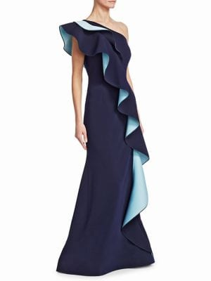 NERO BY JATIN VARMA One-Shoulder Two-Tone Ruffle Gown in Navy Blue