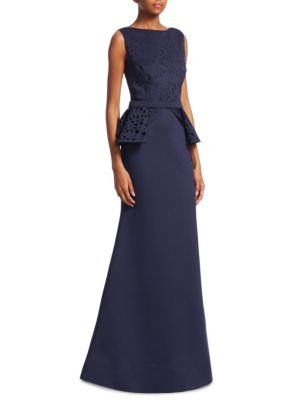 NERO BY JATIN VARMA Laser Cut Mermaid Gown in Navy