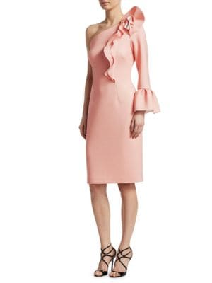 NERO BY JATIN VARMA Ruffled Asymmetrical Bell-Sleeve Knee-Length Dress in Pink