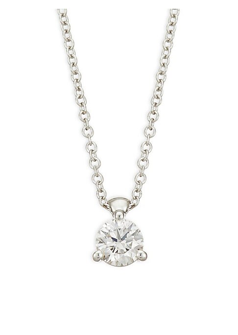 "Image of White gold with a dazzling faceted diamond pendant. Diamond, 0.48-0.53 tcw. Diamond color, IJ. Diamond clarity, VS-SI.18K white gold. Clasp. Made in USA. SIZE. Length, about 18""."