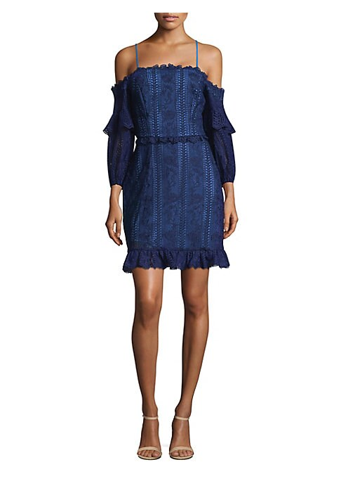 """Image of Lace dress in shoulder-baring style with ruffled hem. Squareneck. Cold-shoulder. Bracelet ruffle sleeves. Exposed back zip. Lined. About 25"""" from shoulder to hem. Lined. Polyester. Dry clean. Imported. Model shown is 5'10"""" (177cm) wearing size 4."""