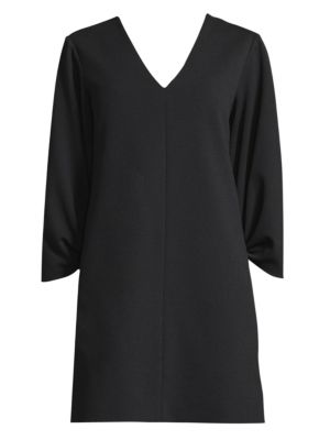 V Neck Shirred Sleeve Dress by Tibi
