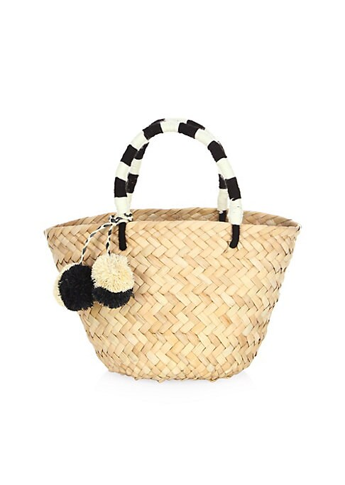 "Image of Straw tote bag with pom pom accents. Double top handle, drop 4"".Open top.9"" L x 7"" W x 6""D.Straw. Imported."