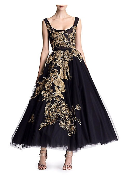 "Image of Golden embroidery adorns layers of tulle on tea-length dress. Scoopneck. Sleeveless. Concealed back zip closure. Scoop back. Stretch silk lining. Silk skirt lining. About 62"" from shoulder to hem. Nylon/polyester. Tulle: nylon. Dry clean. Made in USA. Mod"