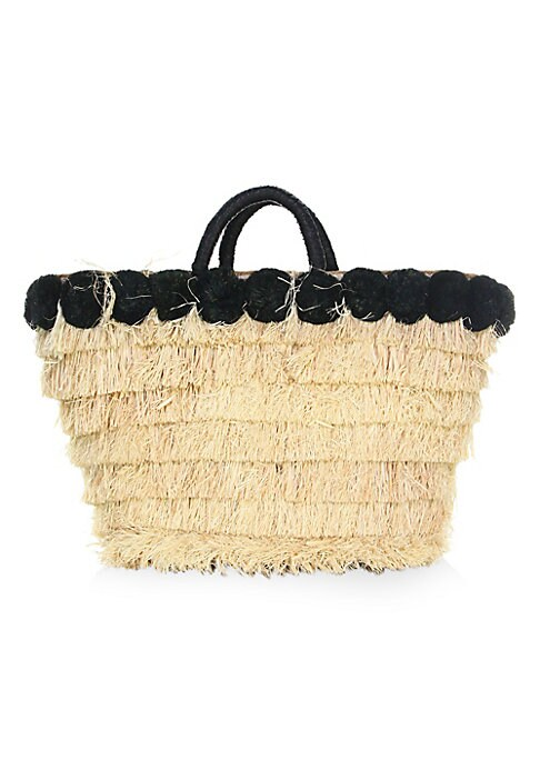 "Image of Straw tote bag with contrast raffia pom trim. Double top handle. Drawstring closure. 16"" L x 12"" W x 5""D.Straw. Imported."
