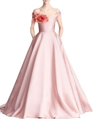 MARCHESA Couture Pink Off Shoulder Duchess Satin Ball Gown
