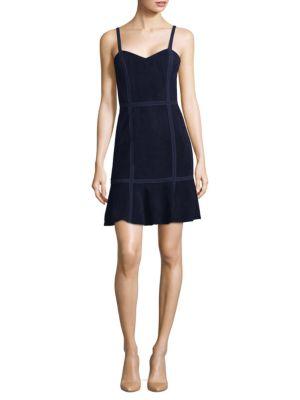Woman Desmond Crochet-Trimmed Suede Mini Dress Navy