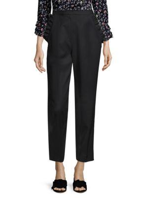 Spring Ruffle Straight-Leg Wool Pants, Black