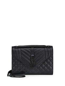 ec98aa225539 Saint Laurent. Quilted Leather Monogram Crossbody Envelope Bag