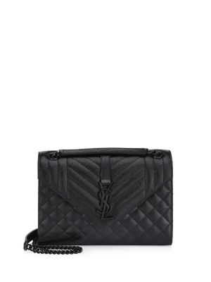 Quilted Leather Logo Crossbody by Saint Laurent