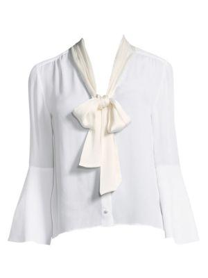 Alice Olivia Merideth Tieneck Bell Sleeve Blouse
