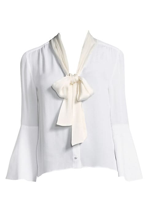 """Image of Bell-sleeve blouse updated with ribbon detail.V-neck with tie detail. Three-quarter bell sleeves. Button cuffs. Button front. About 25"""" from shoulder to hem. Silk/elastane. Dry clean. Imported. Model shown is 5'10"""" (177cm) wearing size Small."""