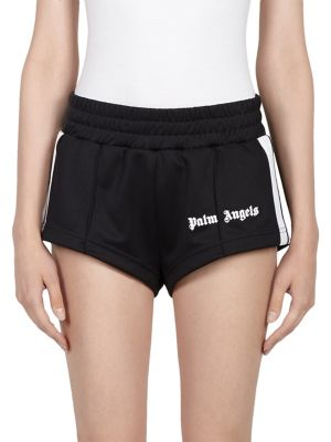 Striped Satin-Jersey Shorts in Black