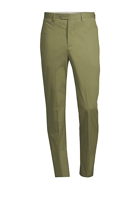 """Image of Timeless wool trousers that are both stylish and practical. Belt loops. Button fly with button closure. Back buttoned welt pockets. Wool. Machine wash. Made in Portugal. SIZE & FIT. Slim leg. Rise, about 9"""".Inseam, about 43.25"""".Leg opening, about 14""""."""