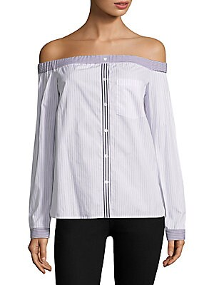 "Image of Chic cotton-blend striped top Off-the-shoulder neckline Long sleeves Button cuffs Pullover style Illusion button front Chest patch pocket Shirttail hem About 25 from shoulder to hem Cotton/polyester/elastane Dry clean Made in USA Model shown is 5'10"" (177"