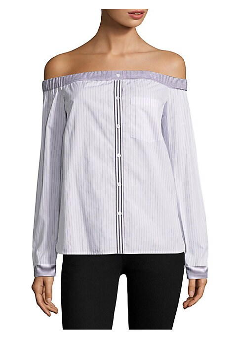 """Image of Chic cotton-blend striped top. Off-the-shoulder neckline. Long sleeves. Button cuffs. Pullover style. Illusion button front. Chest patch pocket. Shirttail hem. About 25"""" from shoulder to hem. Cotton/polyester/elastane. Dry clean. Made in USA. Model shown"""