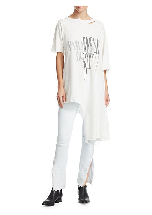 """Image of From the Hold Fast Collection. Reverse-printed cotton t-shirt dress in asymmetrical oversized silhouette. Crewneck. Short sleeves. Pull-on style. About 42.25"""" from shoulder to hem. Cotton. Machine wash. Made in USA. Model shown is 5'10"""" (177cm) wearing si"""