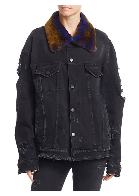 """Image of Dark wash denim jacket with distressed details. Point fur collar. Long sleeves. Button front. Chest buttoned flap pockets. Waist welt pockets. Tab-button waist. About 26.18"""" from shoulder to hem. Cotton. Fur type: Orylag. Fur origin: Italy. Spot clean. Ma"""
