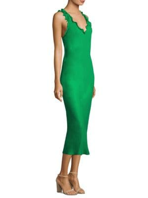 Woman Ruffle-Trimmed Washed-Jersey Maxi Dress Bright Green