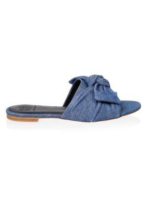 Annabelle Flat Denim Bow Slide Sandal, Denim Cham