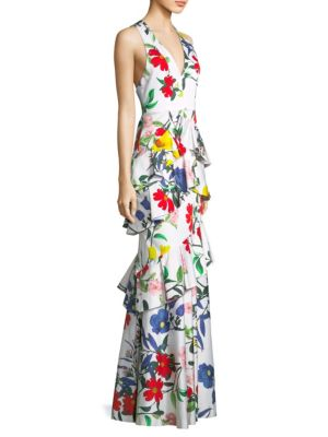 Flossie Sleeveless Deep-V Floral-Print Ruffled Tiered Gown, Whimsy Floral
