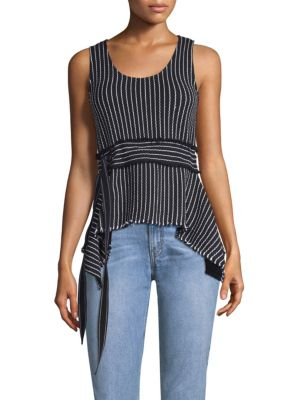 Scoop-Neck Belted Striped Tank, Black