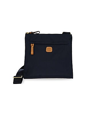 """Image of Crossbody bag in water-resistant, lightweight fabric Adjustable double shoulder straps, 15""""-29.5"""" drop Top zip closure One exterior zip pocket Three interior organizational pockets Goldtone hardware Bovine vegetable tanned Tuscan leather trim 10""""W x 10.5"""""""