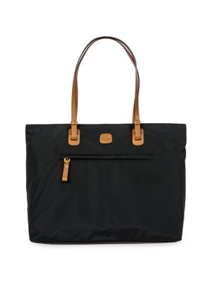 "Image of .Foldable tote in water-resistant, lightweight fabric. .Adjustable double shoulder straps, 11.5"" drop. .Top zip closure. .One outside zip pocket. .Four inside organizational pockets. .Goldtone hardware. .Bovine vegetable tanned Tuscan leather trim. .15""W"