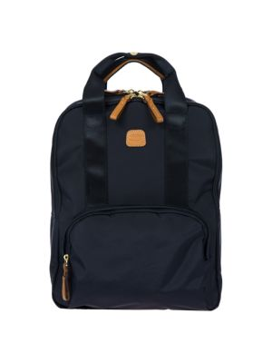 "Image of .Backpack in water-resistant, lightweight fabric. .Adjustable back straps, 19""-38"" drop. .Divided external, double zippered opening. .One outside zip pocket. .Three inside organizational pockets. .Goldtone hardware. .Bovine vegetable tanned Tuscan leather"