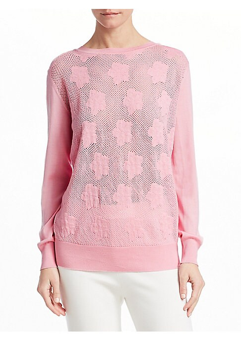 """Image of Cute cashmere knit sweater in floral textures. Crewneck. Long sleeves. Pullover style. About 28"""" from shoulder to hem. Cashmere. Dry clean. Made in Italy. Model shown is 5'10"""" (177cm) wearing US size 4."""