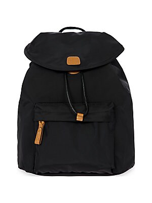 "Image of Backpack in water-resistant, lightweight fabric Adjustable backpack straps, 17""-35"" drop Magnetic-flap closure with drawstring One exterior zip pocket One interior zip pocket Goldtone hardware Bovine vegetable tanned Tuscan leather trim 12""W x 13.5""H x 5."