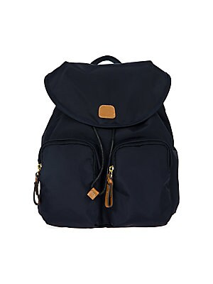 "Image of Backpack in water-resistant, lightweight fabric Top handle Adjustable backpack strap, 16.5"" - 32"" drop magnetic-flap closure with drawsting Two outside zip pockets Three inside organizational pockets Goldtone hardware Bovine vegetable tanned Tuscan leathe"