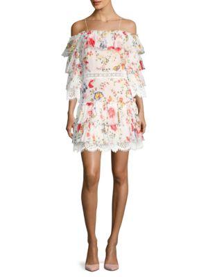 Santos Cold Shoulder Floral Print Sheath Dress by Alice + Olivia