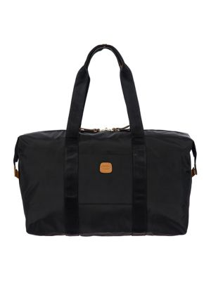"Image of .Duffel in water-resistant, lightweight fabric. .Double shoulder straps, 10"" drop. .Top zip closure. .One inside removable snap pocket. .Goldtone hardware. .Bovine vegetable tanned Tuscan leather trim. .18""W x 12""H x 8""D. .Polyamide/polyester. .Spot clean"