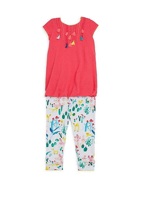 Image of Colorful succulents and florals adorn leggings in painterly style, which accentuate tassels on dress. Cotton/elastane. Machine wash. Imported. DRESS. Roundneck. Cap sleeves. Concealed back closure. Tassel details. LEGGINGS. Banded waist. Slip-on style.