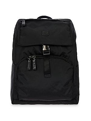 "Image of Backpack in water-resistant, lightweight fabric Adjustable back straps, 20""-38"" drop Magnetic-flap closure with drawstring Two interior pockets One exterior zip pocket Two exterior side pockets Laptop and tablet sleeves Goldtone hardware Bovine vegetable"