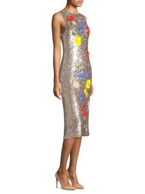 Alice And Olivia  Nat Embroidery Sequin Midi Dress