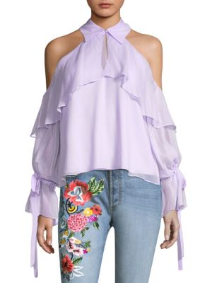 Alice And Olivia  Blayne Silk Ruffled Cold-Shoulder Blouse