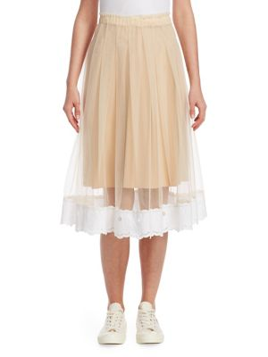 "Image of Poplin lace trims ethereal layered tulle skirt. Elasticized waistband. Pull-on style. On-seam pockets. Layered skirt with lace trim. Sheer. About 31"" long. Polyester. Dry clean. Made in Italy. Model shown is 5'10"" (177cm) and wearing US size 4."