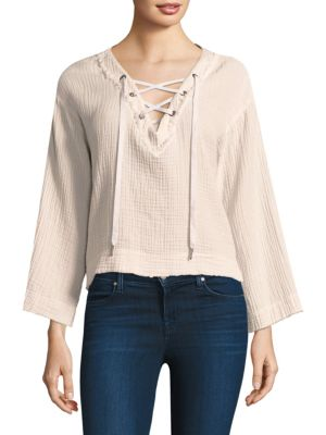 Bella Dahl Lace-Up Bell Sleeve Top