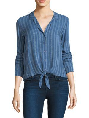 Bella Dahl Tie Front Striped Shirt