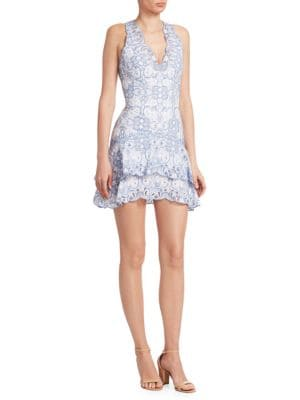Scallop Cutout Embroidery V Neck Tired Mini Dress, White Chambray